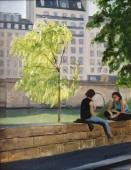 Figures seated on wall along the Seine, Paris