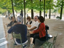 Jardin du Luxembourg, Paris, seated group of friends