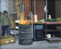 Man at fire barrel in Italian Market, South Philadelphia