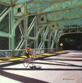 Bicyclist in sunshine crossing Falls Bridge over Schuylkill River, Philadelphia