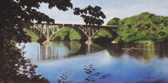 Strawberry Mansion bridge over Schuylkill River with oarsman