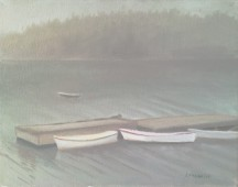 Row boats, at dock in fog