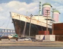 Passenger ship SS United States at pier in Philadelphia, with shipping containers and pier vehicles