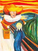 Jack in the box clown (Trump image) placed in The Scream (Edvard Munch)