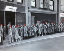 Depression-like soup line (monochrome) with some people wearing red hats