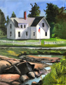 House on tidal creek with flag