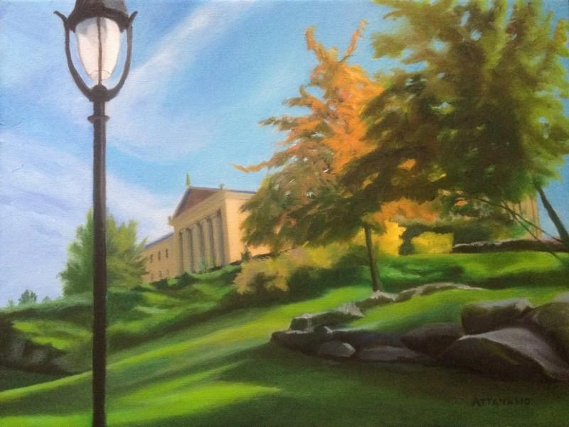 Philadelphia Museum of Art, autumn leaves, orange leaves