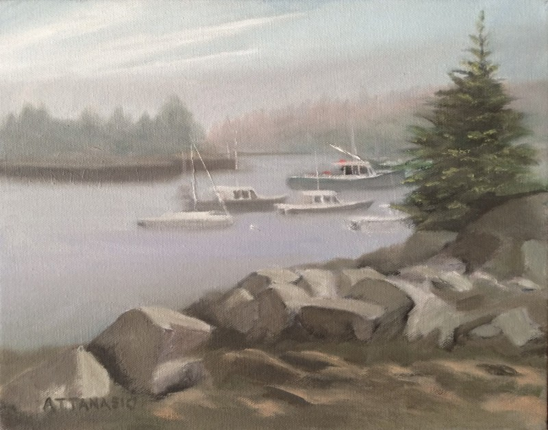 Corea Harbor with boats and light fog with rocks and fir tree