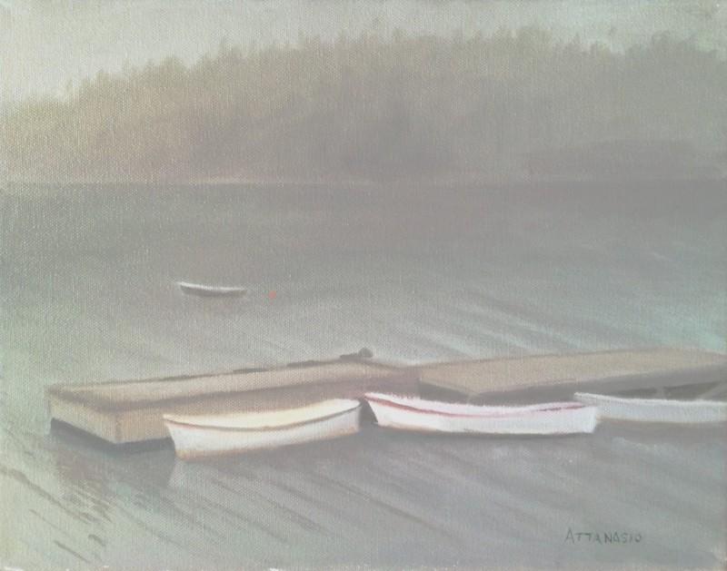 Row boats, at dock in fog
