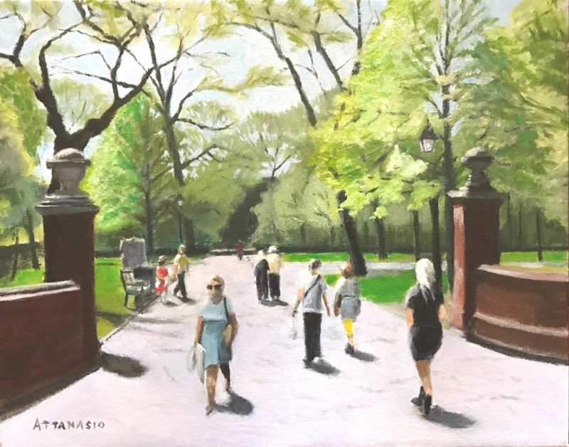park in spring with walkers and jogger