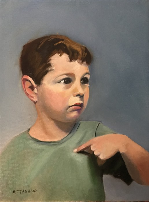 Five-year old boy pointing to himself