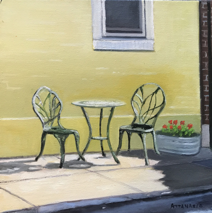 patio furniture on sidewalk