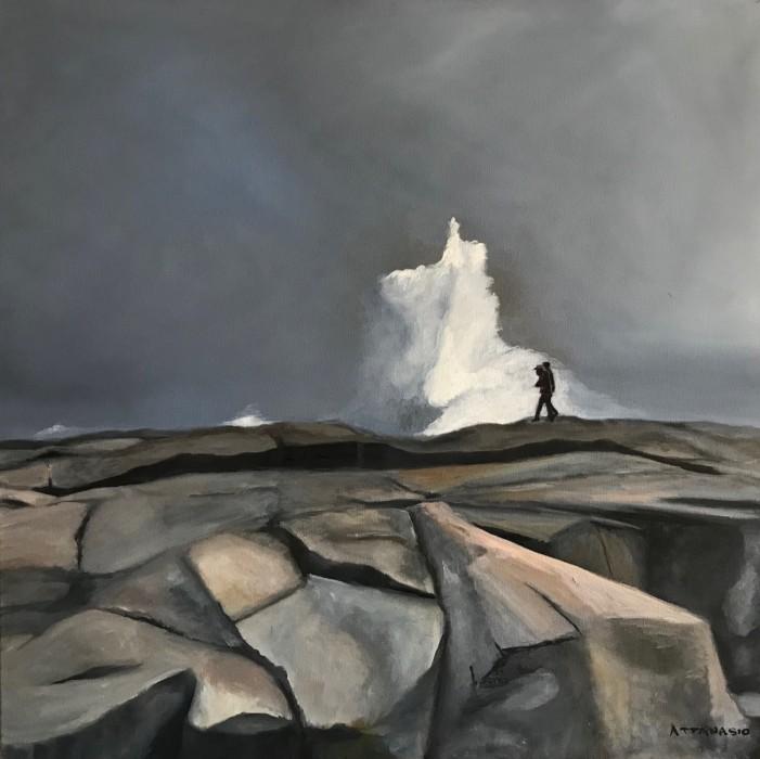 rocky coastline with crashing wave